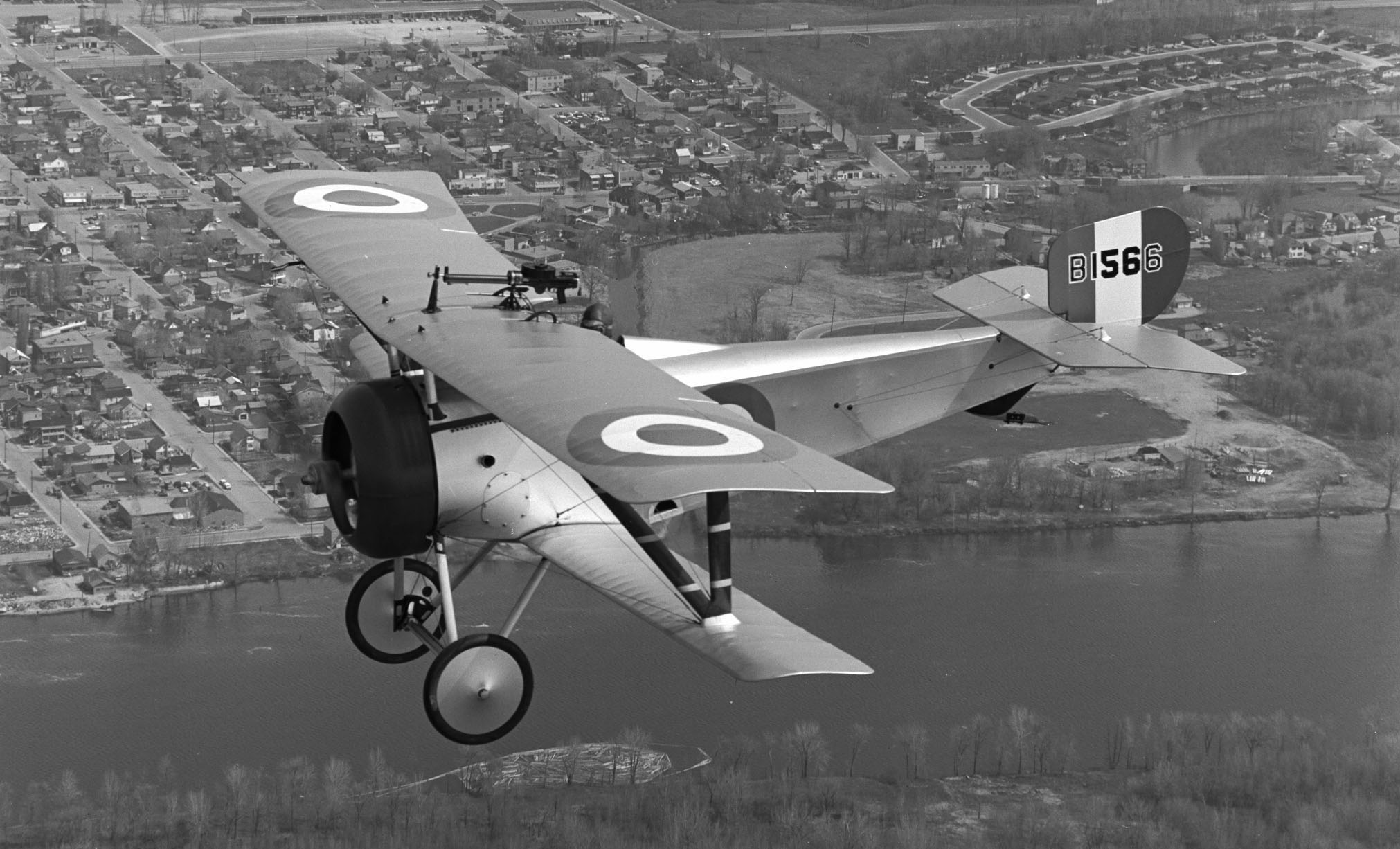 The replica Nieuport 17, B1566, in flight, circa 1967. PHOTO: DND Archives, CF67-375