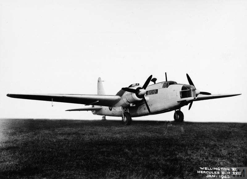 A Wellington GR Mk XI, MP521, on the ground at Brooklands, Surrey. This aircraft served with the RCAF's No. 407 Squadron until April 1943, when it was transferred to the Fleet Air Arm. The censor has obliterated the background of the photograph. PHOTO: © Imperial War Museum, ATP 12112B