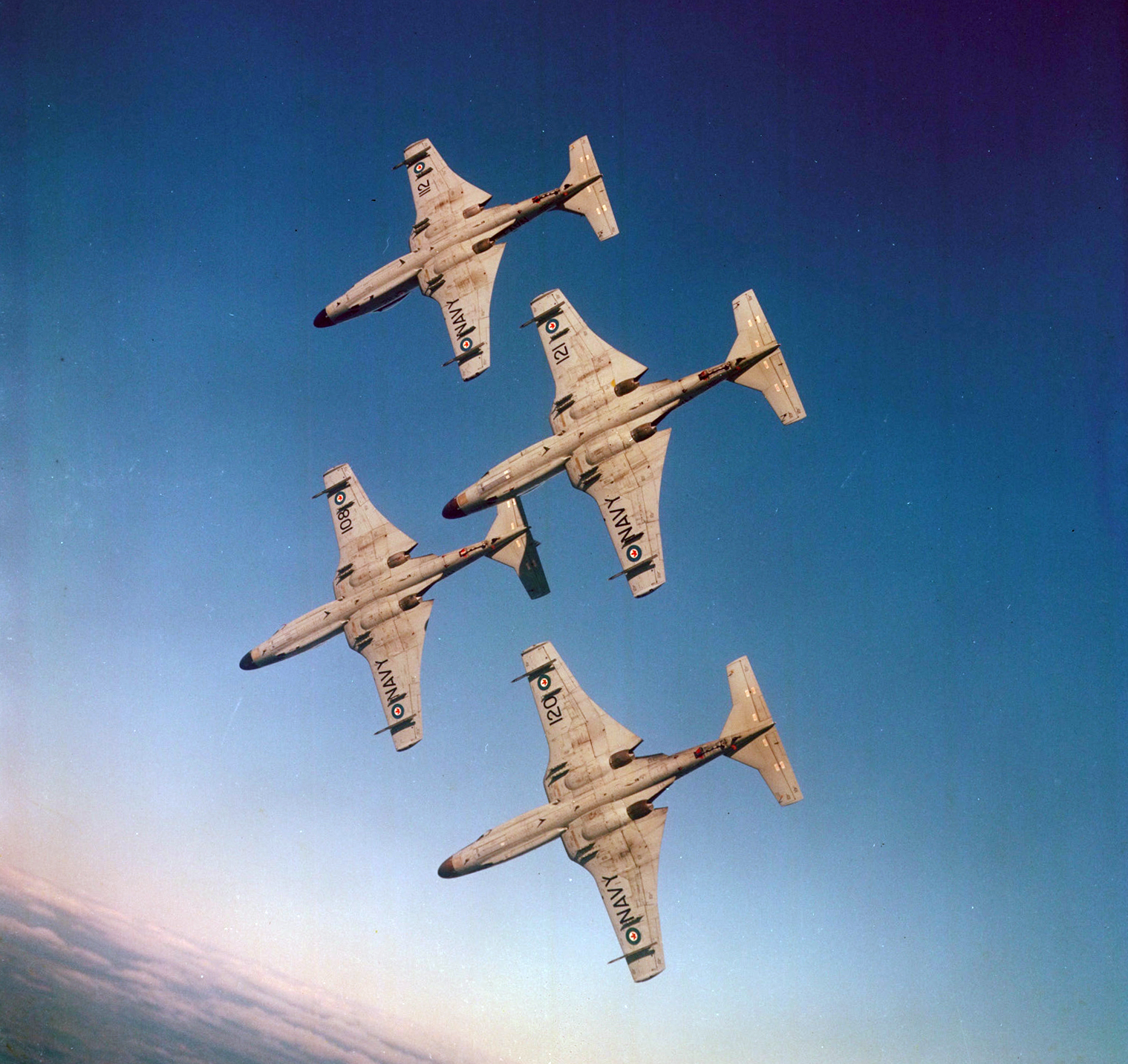 "The Royal Canadian Navy's aerobatic team of four Banshees, called the ""Grey Ghosts"". PHOTO: DND Archives, EKS-701"
