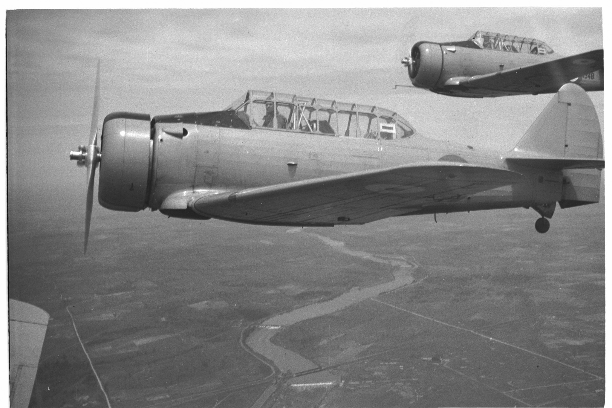 An air-to-air view of a Harvard Mk 1. PHOTO: DND Archives, PL-270