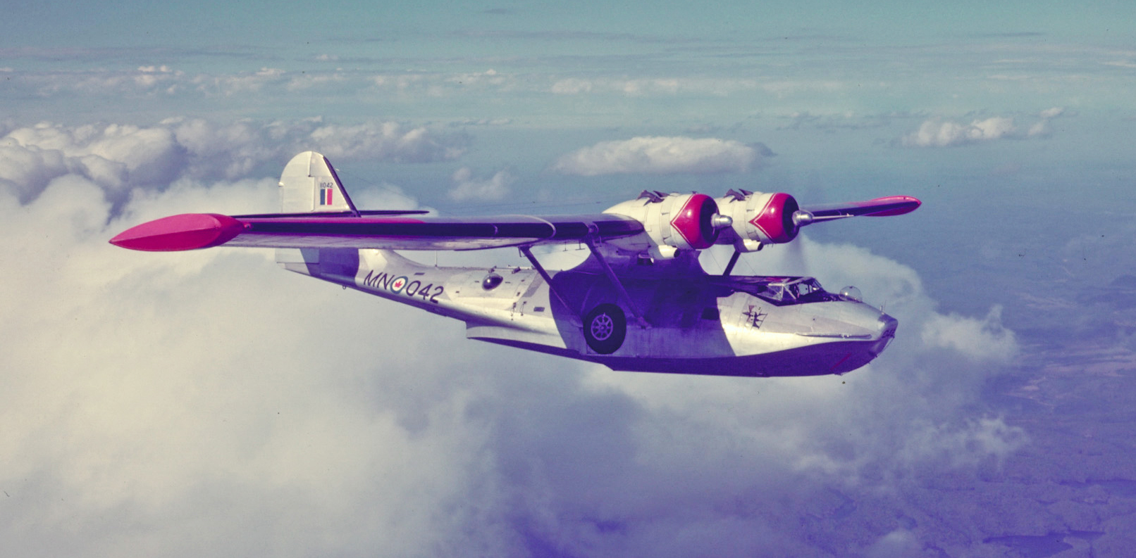 A Canso aircraft in flight. PHOTO: DND Archives, PC-842