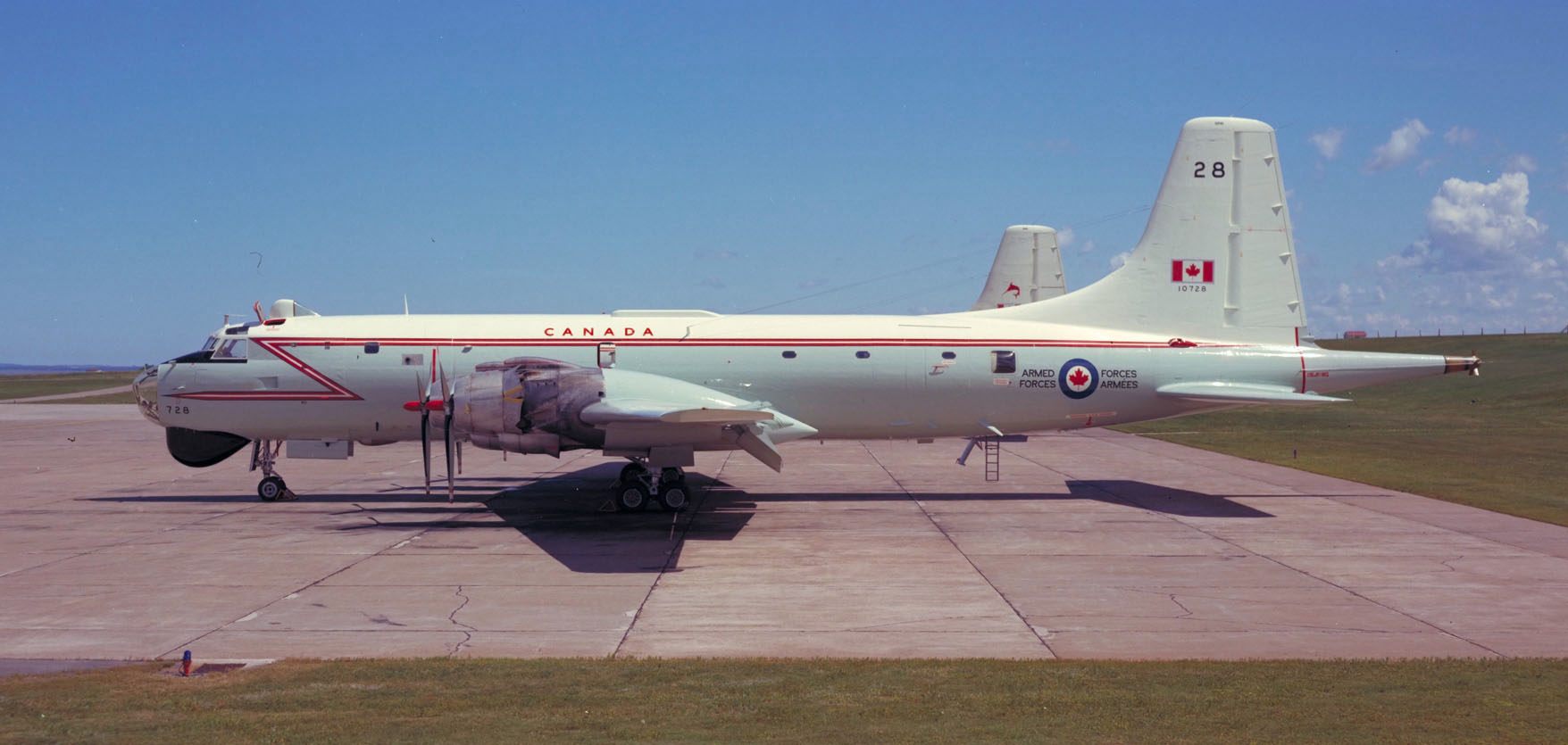 A CP-107 Argus rests on the tarmac at Canadian Forces Base Summerside, Prince Edward Island. PHOTO: DND Archives, PCN74-847