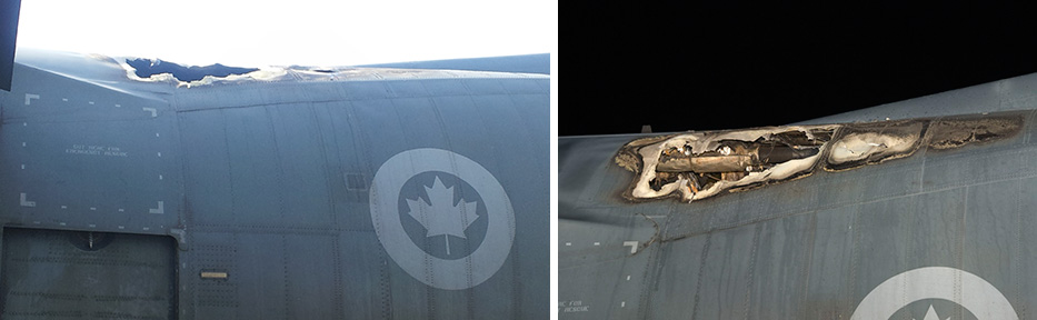 Aircraft Exterior – Damage to Fuselage Ceiling Area near LH Side Para Door