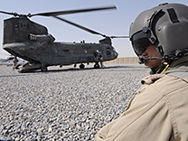 A CH-147D Chinook stops to refuel in Afghanistan in 2010.