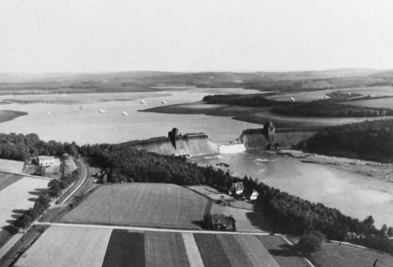 The Mohne Dam after the attack. PHOTO: © U.K. National Archives
