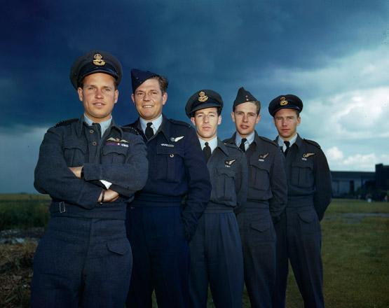 "The members of a Lancaster crew for the Dambusters raid (from left): Wing Commander Guy Gibson, RAF, pilot; Pilot Officer Frederick Spafford, RAAF,  Flight Lieutenant Robert Hutchinson, RAF, wireless operator, Flight Sergeant Andrew Deering, RAF, front gunner; and Pilot Officer Harlo ""Terry"" Taerum Taerum, RCAF, navigator. PHOTO: © RAF Air Historical Branch"
