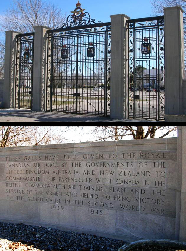 The British Commonwealth Air Training Plan Memorial Gates (top) and inscription at 8 Wing Trenton, Ontario. PHOTOS: Courtesy of John Chalmers