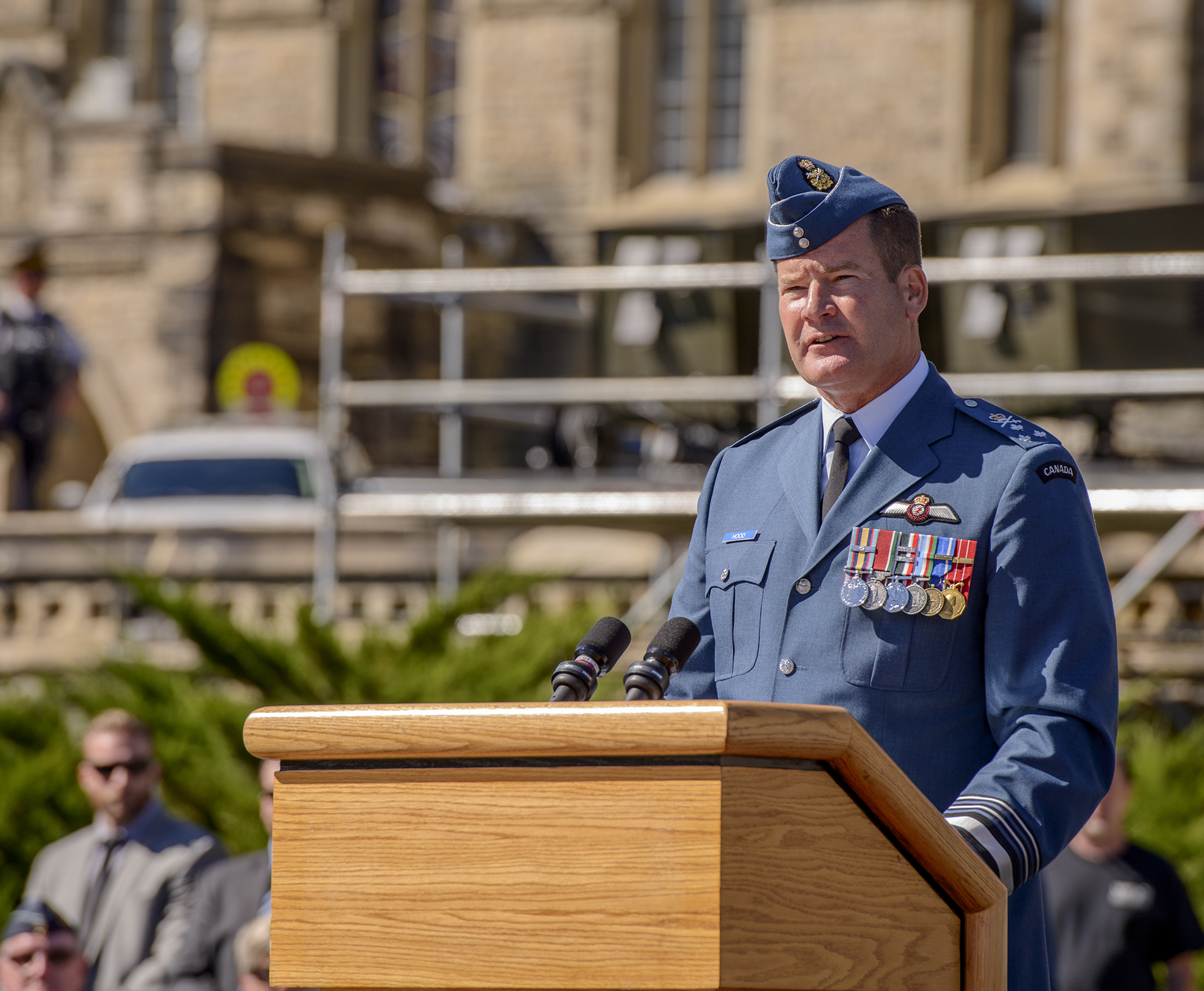 Lieutenant-General Michael Hood addresses attendees of the 75th Anniversary of the Battle of Britain Commemorative Ceremony on Parliament Hill in Ottawa, Ontario, on September 20, 2015.