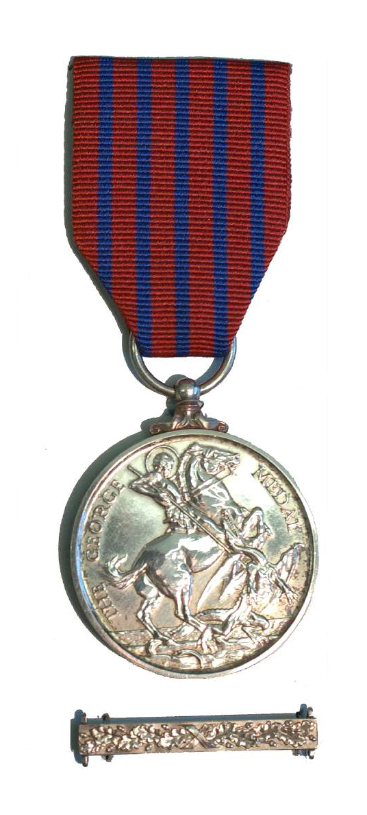 The George Medal seen here was awarded to Frances Walsh for her bravery in pulling a student pilot out of a fiery aircraft crash site. It is held on display at the Bomber Command Museum of Canada in Nanton, Alberta. IMAGE: Bomber Command Museum of Canada, http://www.bombercommandmuseum.ca/s,walsh.html
