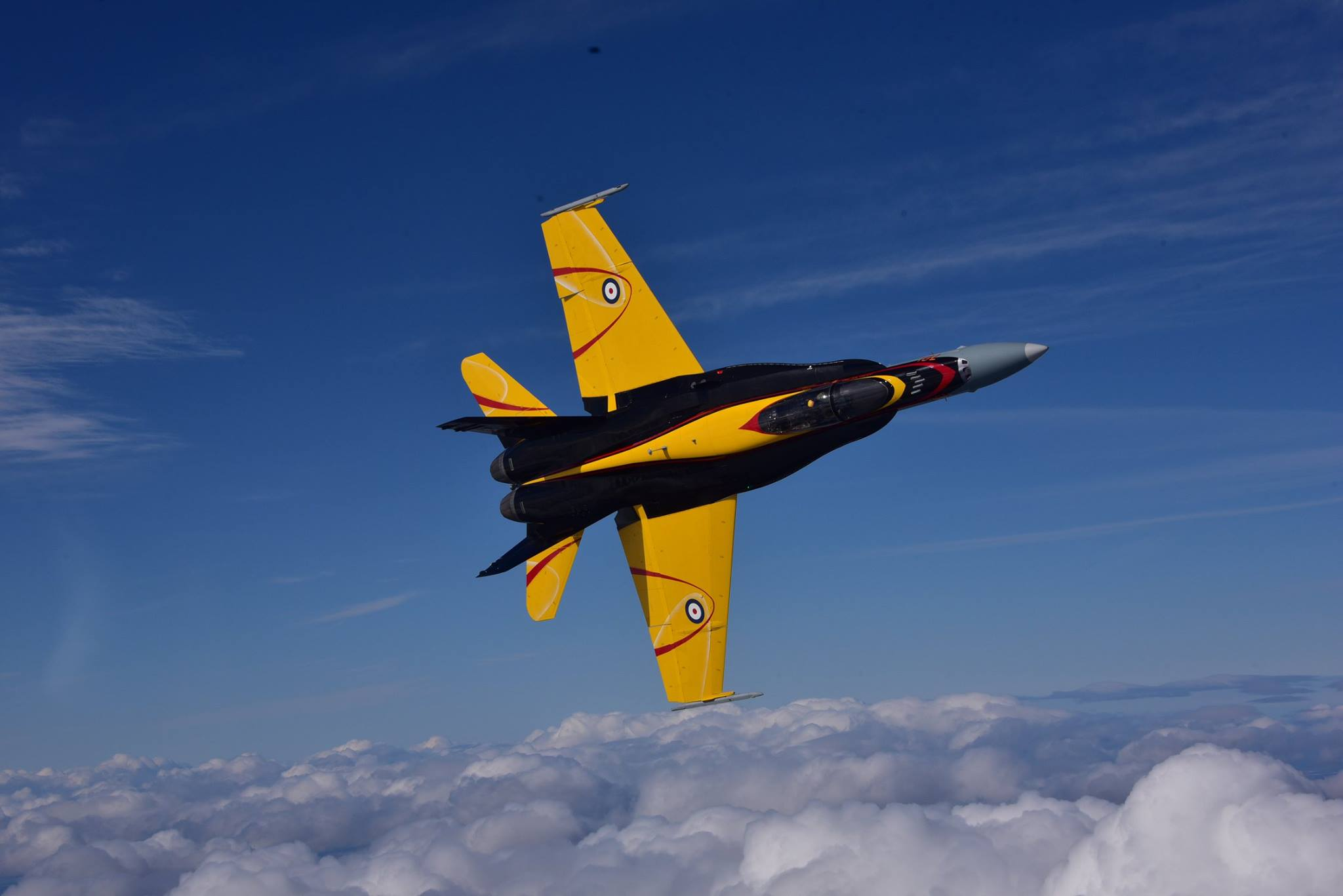 The CF-18 Demonstration jet takes to the sky during its first day of flying! PHOTO: © Mike Reyno