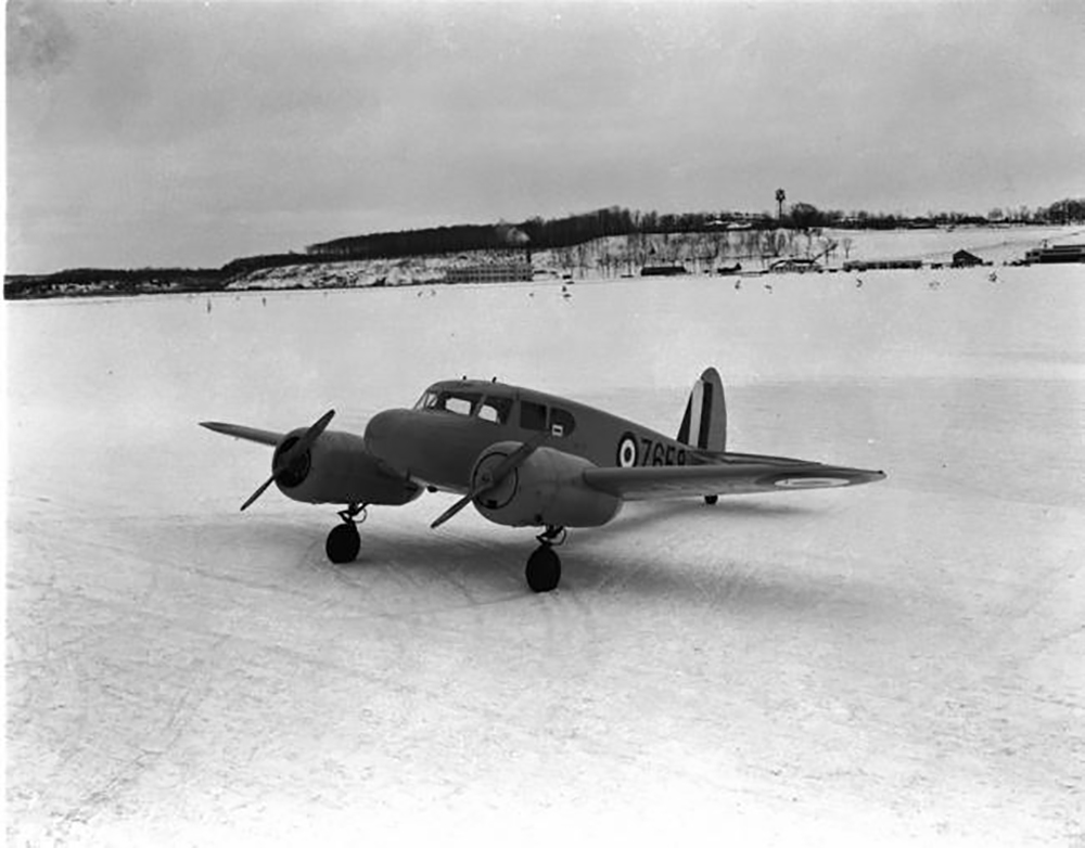In an undated photograph, a Cessna Crane winters at No. 12 Service Flying Training School in Brandon, Manitoba. PHOTO: DND Archives, PL-2564