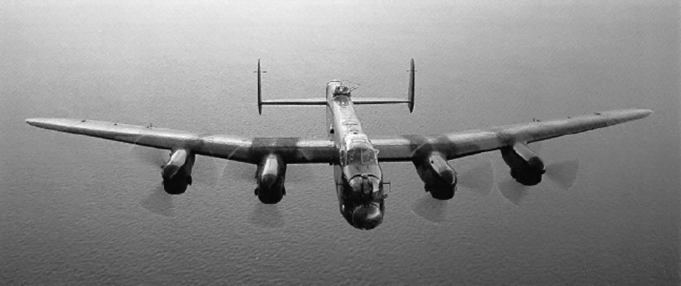 An undated photograph of a Lancaster bomber in flight. PHOTO: Bomber Command Museum, P-lancbomber1