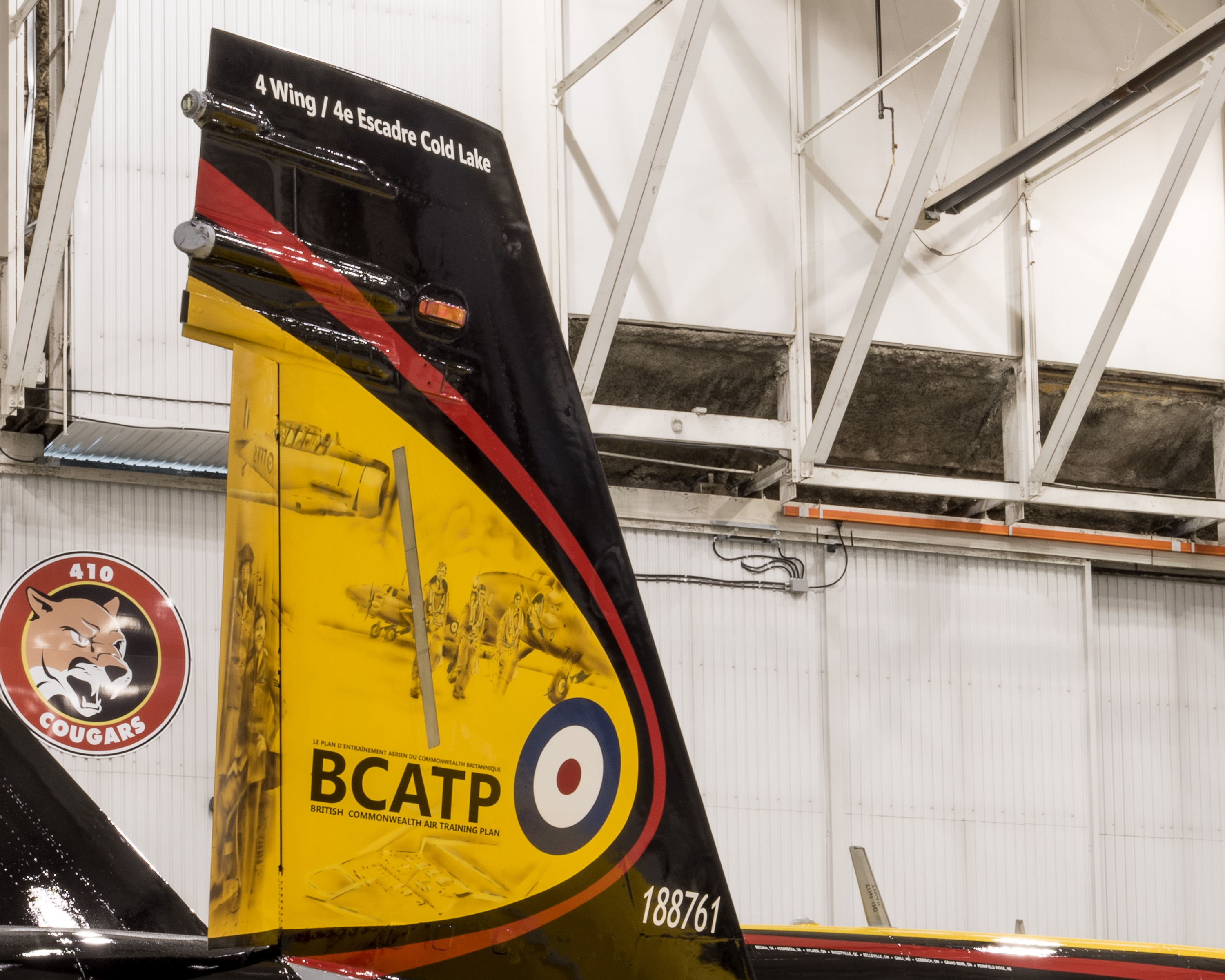 The tail fins on the 2016 Demonstration Hornet carry artwork based on actual British Commonwealth Air Training Plan photographs. PHOTO: Corporal I. Thompson, CK02-2016-0278-013