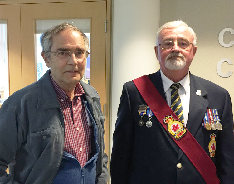 Bomber Command Museum's Dave Birrell (left) and Bob Collins, sergeant of arms with Royal Canadian Legion Branch No. 71, are working to raise awareness of the significant contributions of Royal Canadian Air Force Station High River and the British Commonwealth Air Training Plan's No. 5 Elementary Flying Training School, both to the local community of High River, Alberta, and to the war effort during the Second World War. PHOTO: OKOTOKS Online