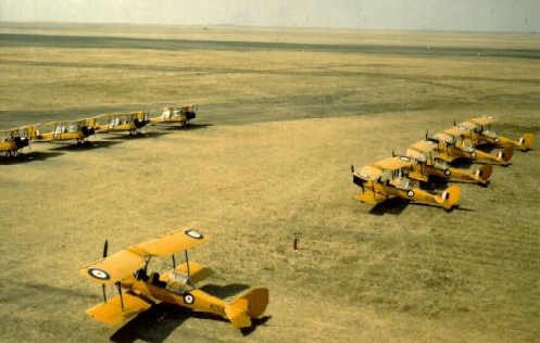 No. 5 Elementary Flying Training School de Havilland Tiger Moth aircraft, flying from the grass, were used to train pilots until late 1942. The bi-planes served well; No. 4080 flew a total of 2,359 training hours with at least 200 different pilots on the stick..