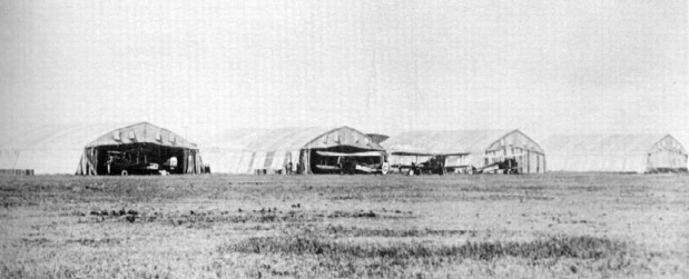 "First World War ""Bessonneau"" hangars at High River Air Station c.1920. PHOTO: Bomber Command Museum"