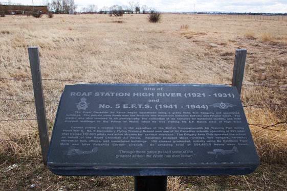 Bomber Command Museum's sign marks the site of Royal Canadian Air Force Station High River (1921–1931) and the British Commonwealth Air Training Plan's No. 5 Elementary Flying Training School (1941–1944) at High River, Alberta. PHOTO: Bomber Command Museum