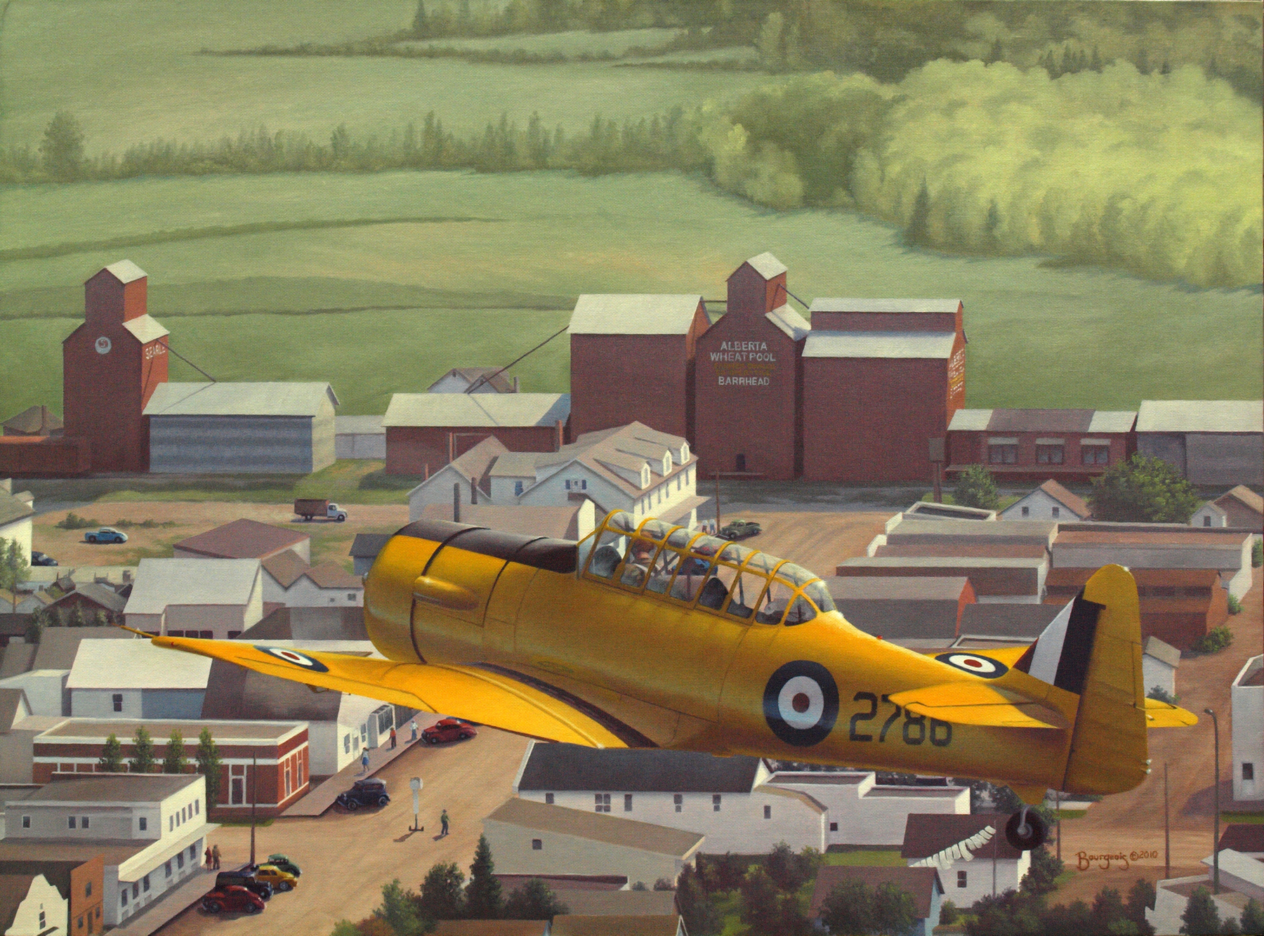 A painting of a British Commonwealth Air Training Plan aircraft overflying a Canadian prairie town as the pilot confirms his location by seeing the town's name, Barrhead, on a grain elevator.