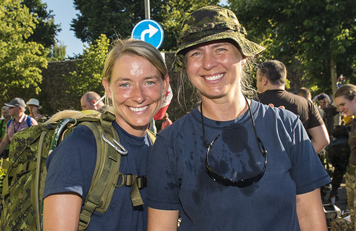 slide - Master Corporal Caroline Proulx (left) and Sergeant Lynn Myers.