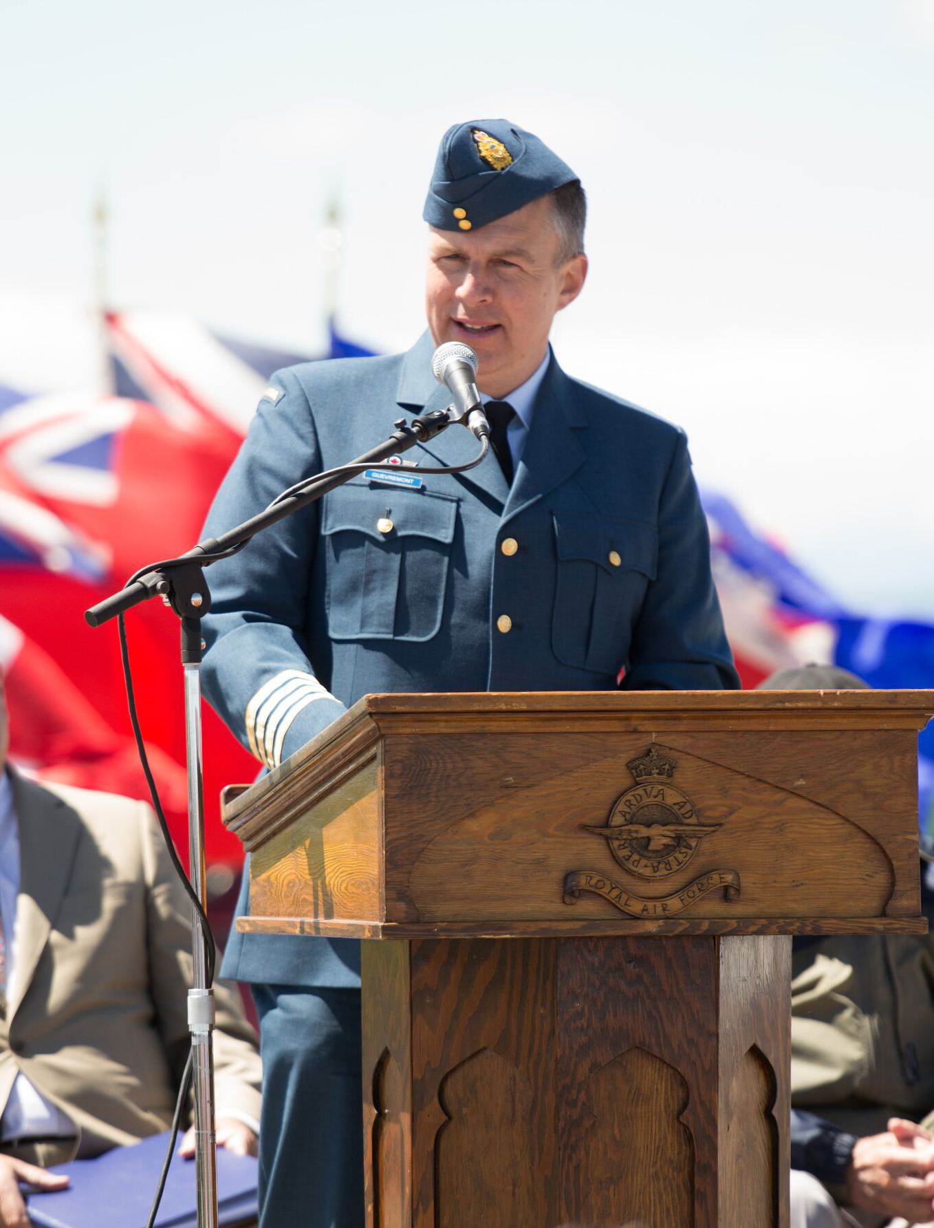 Dr. Stéphane Gouvrement, honorary colonel of 419 Tactical Fighter Training Squadron, located at 4 Wing Cold Lake, Ontario, shared the history of the British Commonwealth Air Training Plan with guests and spectators at the 75th anniversary reunion of No. 31 Elementary Flying Training School De Winton. PHOTO: Courtesy of Anne Gafiuk