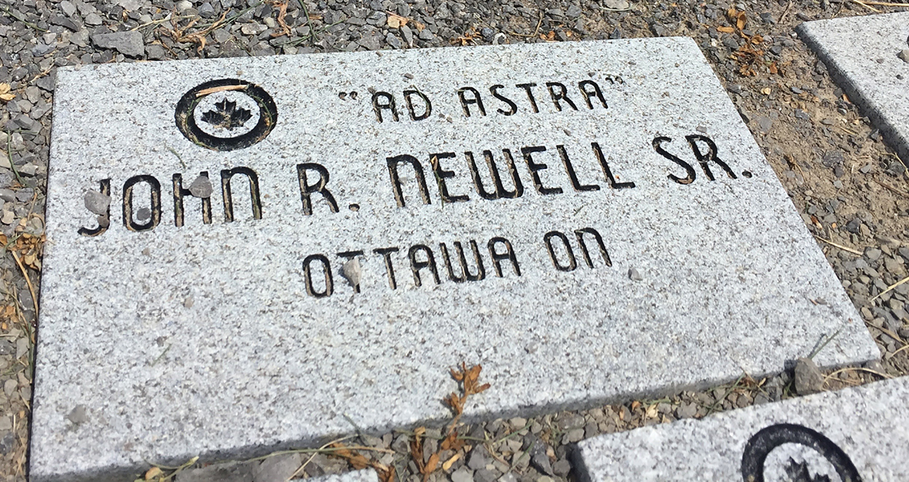 Flying Officer (retired) John Newell's memorial stone is located outside the National Air Force Museum of Canada in Trenton, Ontario, one of 10,000 such stones that honour the airmen and airwomen who served in the Second World War. The engraved stones are placed in the airpark in return for a donation to the museum. PHOTO: Alexandra Baillie-David