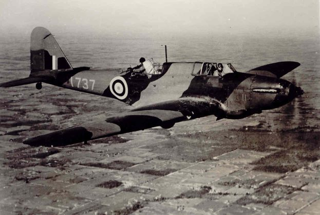 At the beginning of the Second World War, the Fairey Battle saw service as a light day bomber, but was soon found to be too slow, vulnerable and under-gunned for the air warfare of the day. Of those surviving, 739 were reallocated to Canada, where most were employed as trainer aircraft at schools such as No. 9 Bombing and Gunnery School on RCAF Station Mont-Joli, Québec. In this photograph, the rear gunner's only safety feature is a leather strap anchoring him to his aircraft. Some Fairey Battles had the open rear cockpit replaced with a Bristol turret to provide more modern and safer gunnery training. PHOTO: Bomber Command Museum