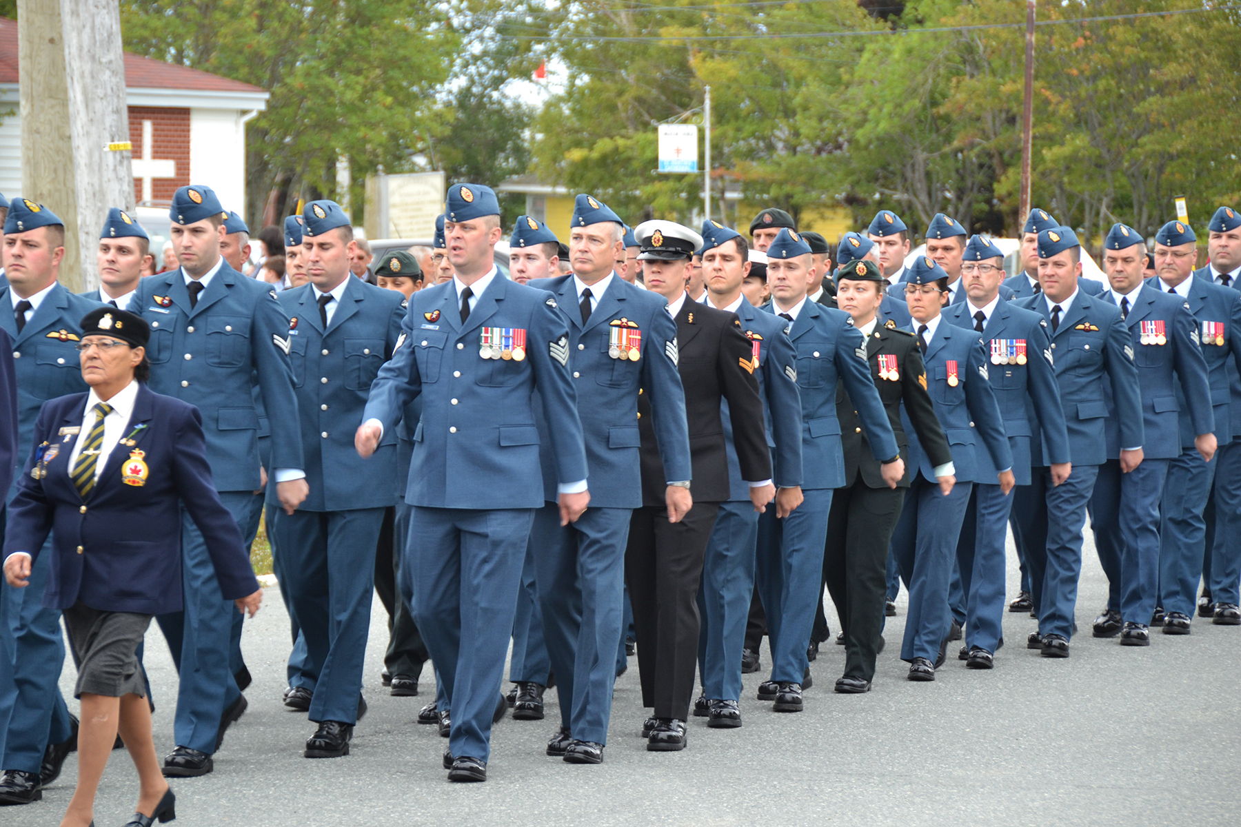 Members of 9 Wing Gander, Newfoundland and Labrador, march through the streets as part of the 76th Anniversary of the Battle of Britain Ceremony held on September 18, 2016, in Gander. PHOTO: Sergeant Carter MacLellon