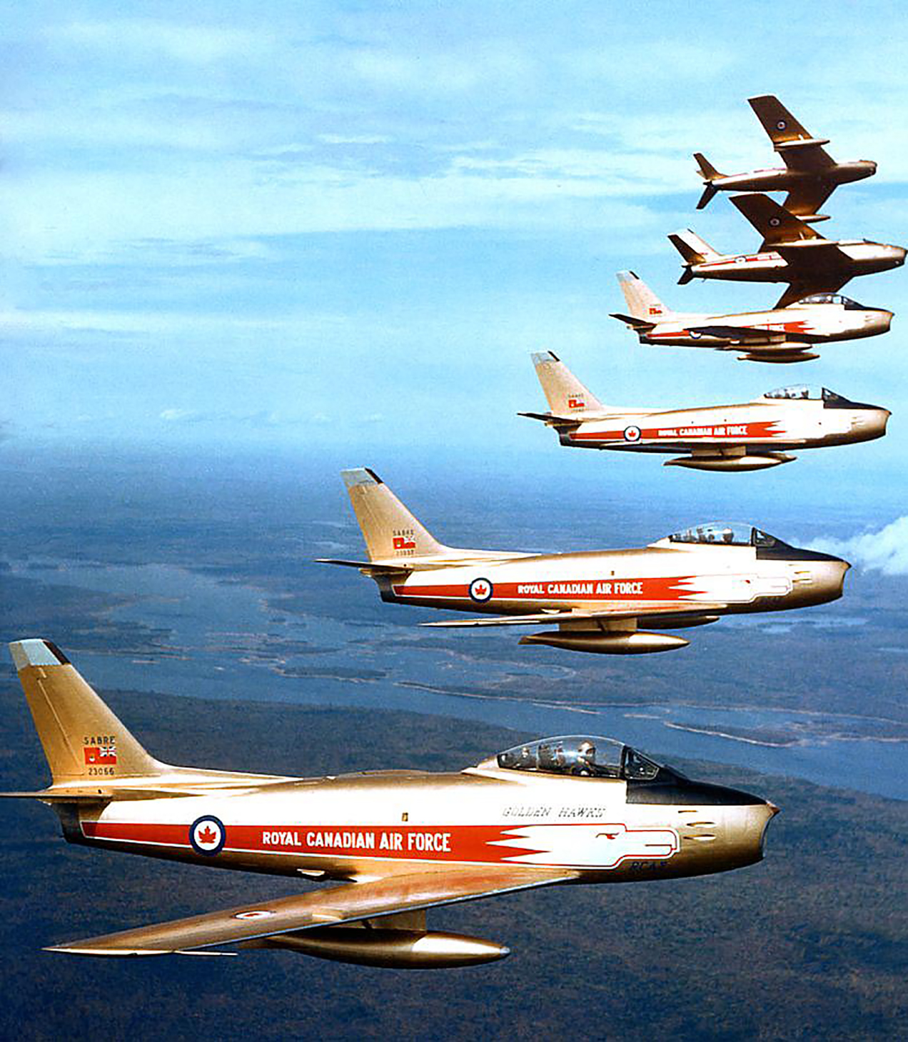 The Golden Hawks, were formed in 1959 to celebrate the 50th anniversary of powered flight in Canada as well as the 35th anniversary of the RCAF. However, their popularity and the support of the Chief of the Air Staff extended their existence. The team performed 317 shows until the team wrapped up in 1963 with a final show in Montreal, Quebec. Flying gilded F-86 Sabres, they captivated audiences by flying low, sliding back their canopies and waving at the crowd. That's showmanship! PHOTO: DND
