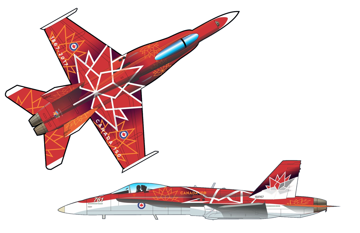A graphic illustration of a side view and a top view of a red and white painted CF-18 Hornet fighter jet.