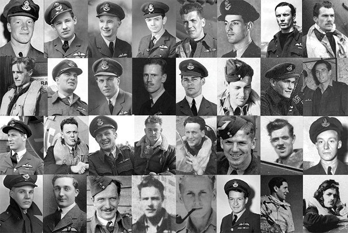 Black and white photographs of 32 young men in Second World War Royal Canadian Air Force uniforms and flight suits.