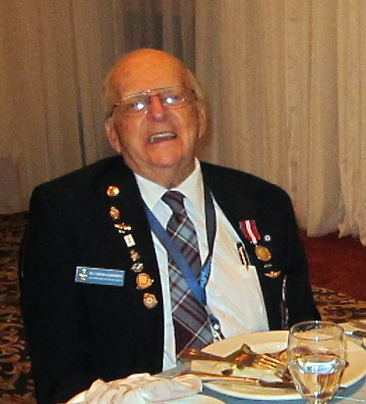 Among the attendees at the Royal Canadian Air Force Association's annual general meeting and awards banquet in October 2016 was Edward Carter-Edwards. During the Second World War, Mr. Carter-Edwards was one of 26 RCAF airmen who survived imprisonment in Buchenwald, a notorious Nazi concentration camp. They were transferred to Stalag Luft III prisoner of war camp as a result of intervention by members of the Luftwaffe. PHOTO: Lieutenant-Colonel (retired) Dean Black, RCAFA