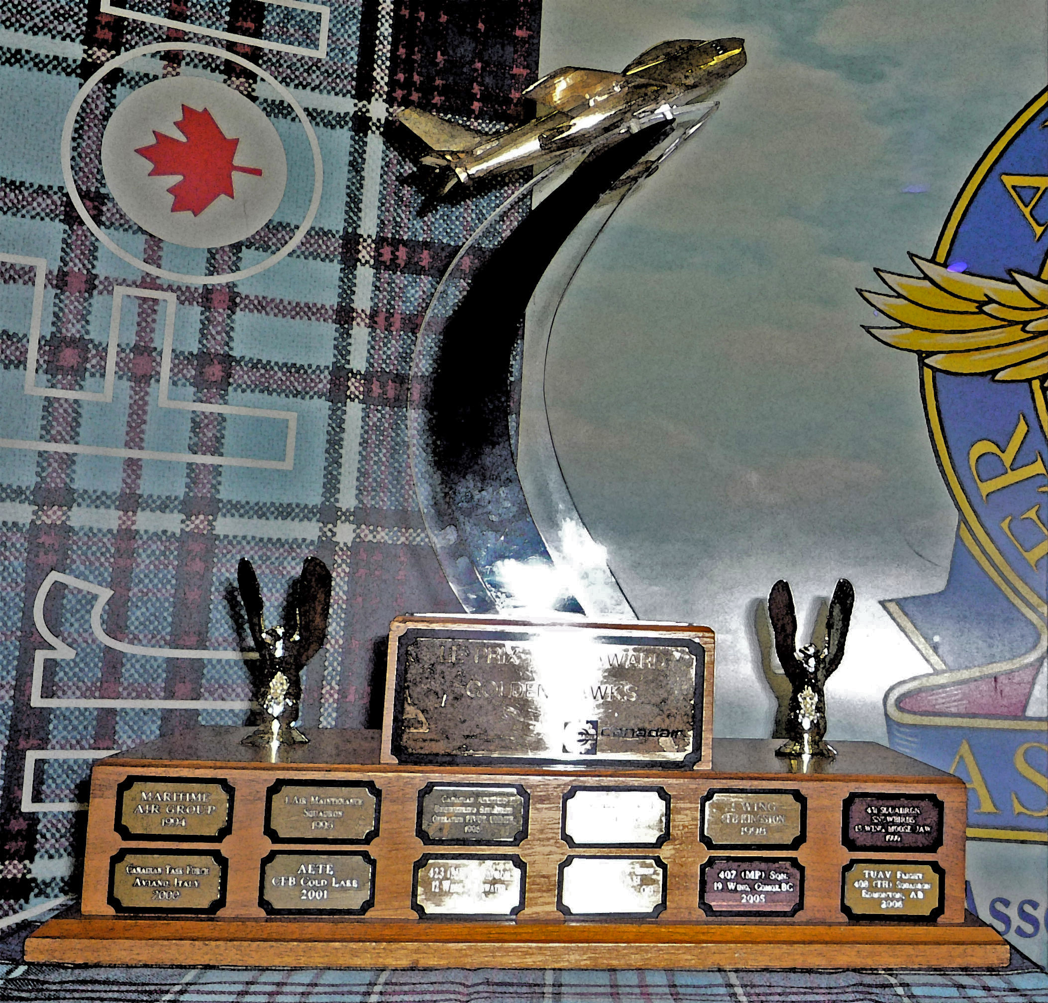 "The 2016 Golden Hawks Trophy was presented to 406 Maritime Operational Training Squadron, located at 12 Wing Shearwater, Nova Scotia, for ""outstanding contributions or highly commendable achievements in any field of military aviation"" other than air transportation or search and rescue. PHOTO: RCAFA"