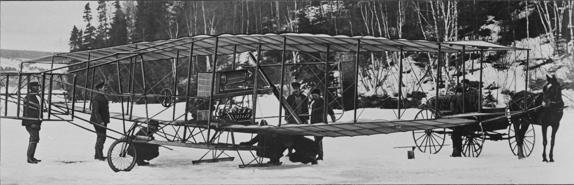 The Silver Dart is prepared for a flight at Baddeck, Nova Scotia, in February 1909. PHOTO: DND Archives, PL-113635