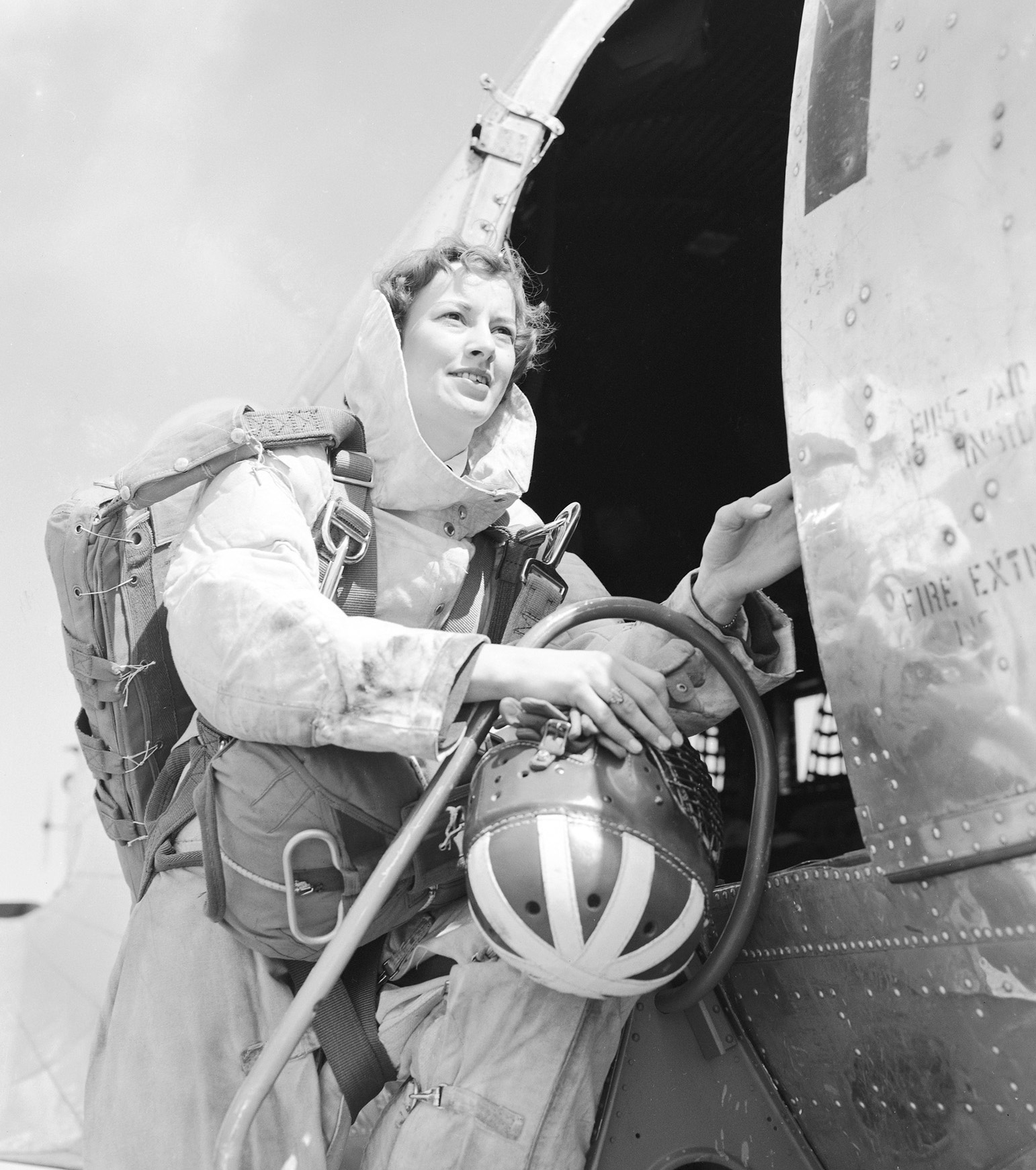 A photo of Flying Officer Marian Neilly, an RCAF para rescue nursing sister who participated in Operation Pike's Peak at Lowry Airforce Base, Denver Colorado, on March 24, 1955. The Joint USAF/RCAF exercise aided the two services' rescue units in adopting a system whereby both can participate in rescue missions in either country. PHOTO: DND Archives, PL-76256