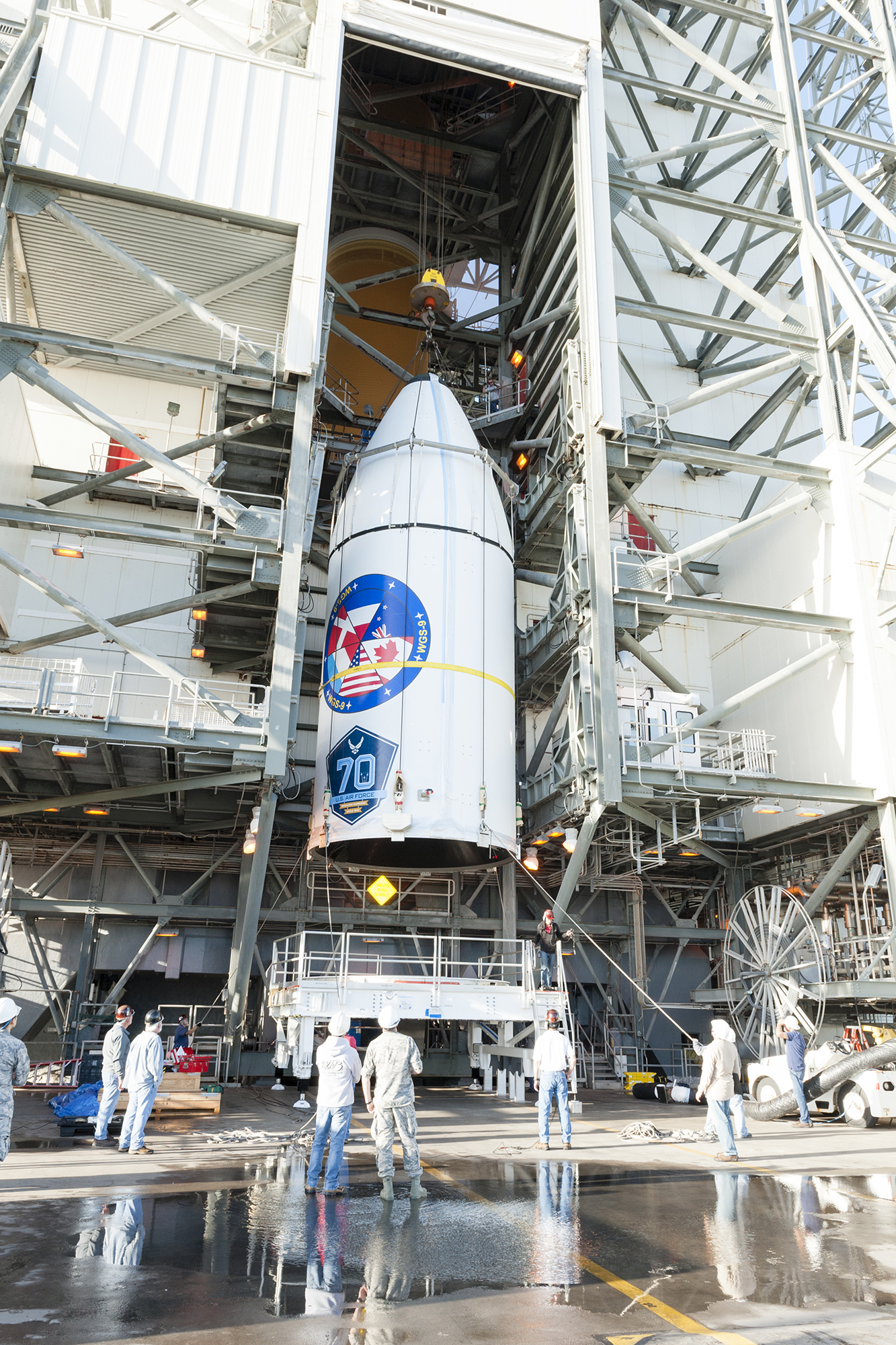 The ninth Wideband Global Satellite Communication (WGS-9) constellation satellite is lifted onto the Delta IV rocket at Cape Canaveral Air Force Station on February 2, 2017. PHOTO: © United Launch Alliance