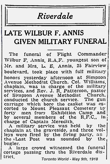 Toronto World news clip, labelled May 9, 1918, and describing the funeral service for Wilbur Annis. (See the main article for the text of the news clipping.) PHOTO: Canadian Virtual War Memorial