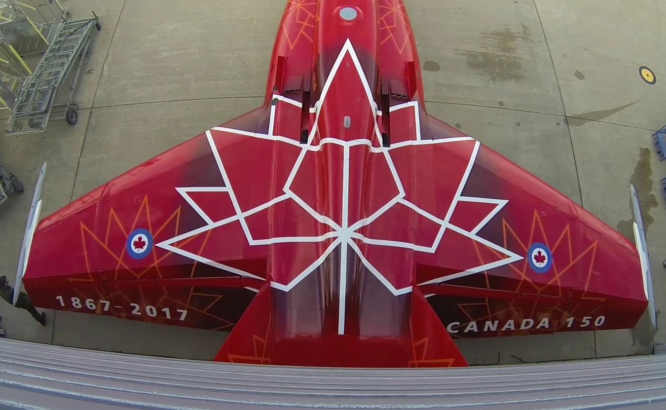 A top view of the 2017 Demonstration CF-188 Hornet aircraft.