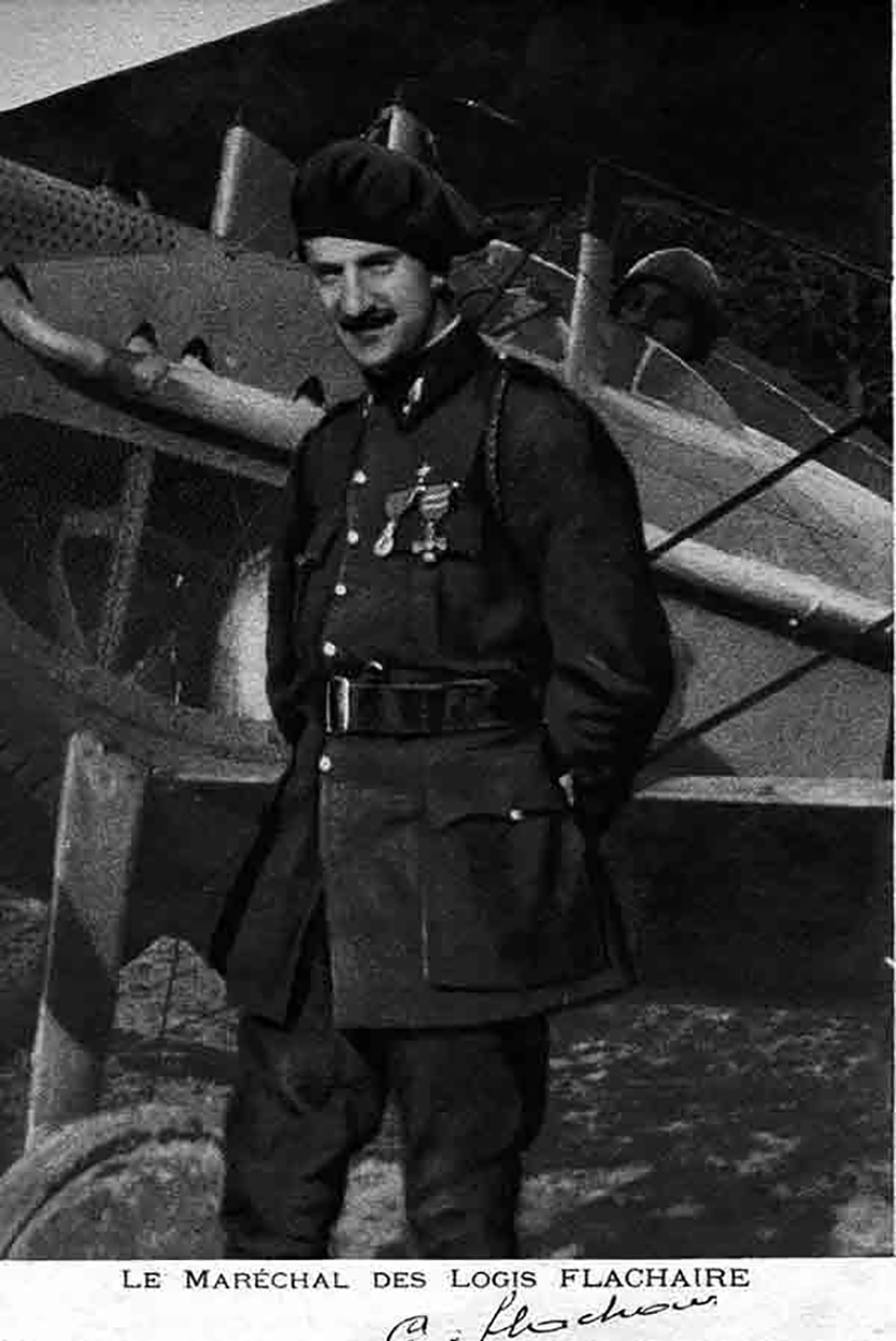 "Lieutenant Georges Flachaire stands beside his Escadrille SP67 ""Cigogne de Navarre"" Spad 7 fighter. PHOTO: Submitted"