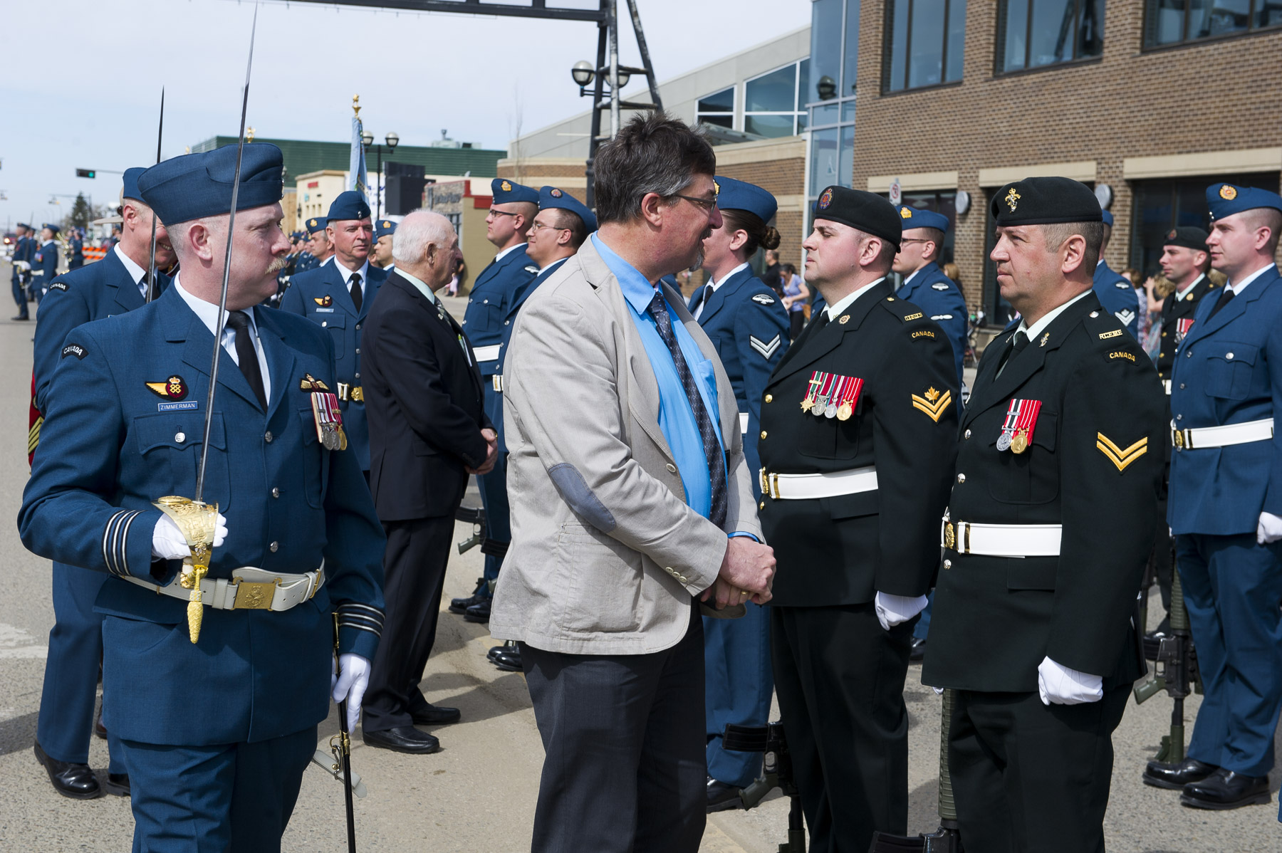 Mayor of Bonnyville, Alberta, Gene Sobolewski inspects the military personnel on parade during the ceremony granting Freedom of the City for the Town of Bonnyville and Municipal District of Bonnyville to 4 Wing Cold Lake on May 5, 2017. PHOTO: Corporal Justin Roy, CK07-2017-0343-005