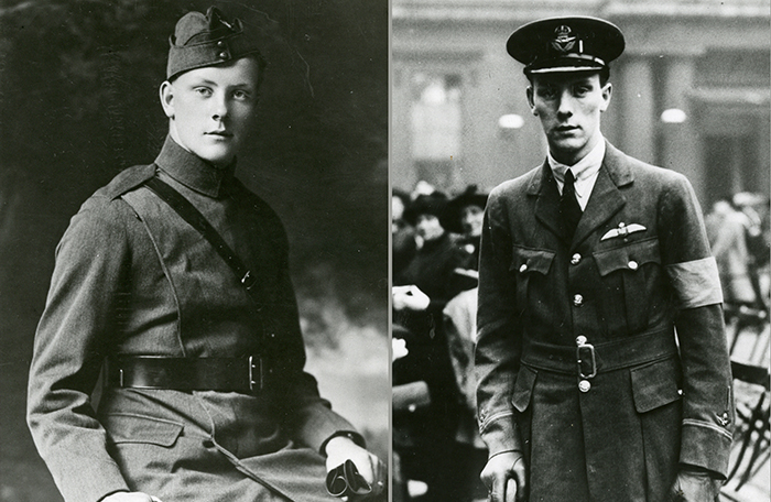 slide - A montage of two black and white, First World War-era photos of the same young man.