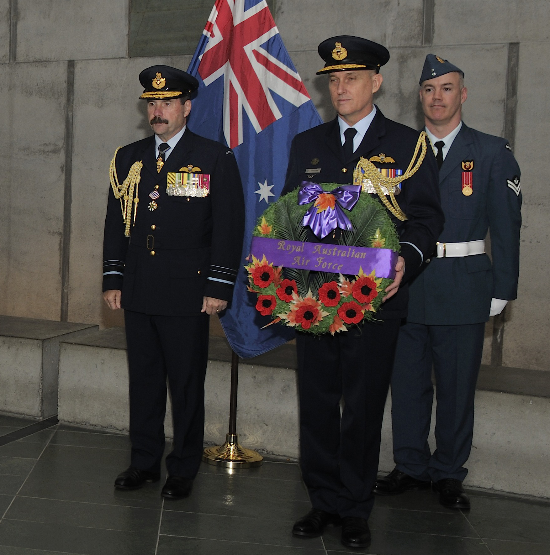 Air Marshal Leo Davies, Chief of Air Force, stands beside Air Commodore Gary Martin, Air Attaché of the Australian embassy in Washington D.C. holding the RAAF wreath, on May 15th 2017.  PHOTO: Sergeant Pascal Quillé, fa02-2017-0021-09