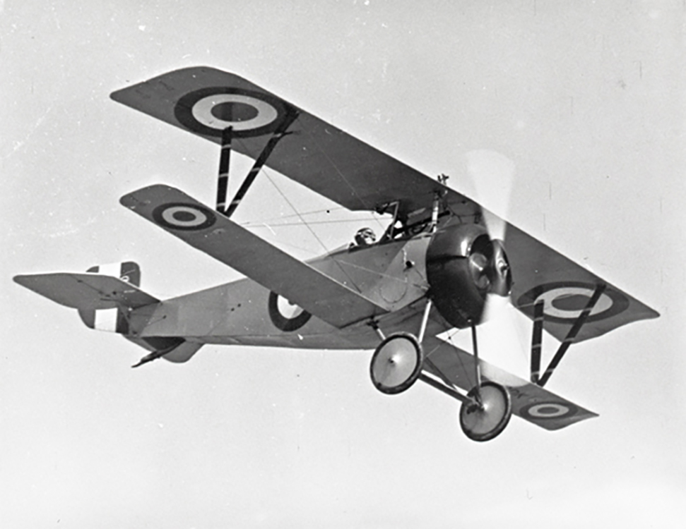 "The Nieuport 17 in flight in 1967, with either Paul Hartman or Flight Lieutenant Bill Long at the controls. The Nieuport 17 was one of the classic fighters of the First World War. It reached the French front in March 1916, and was adopted by the Royal Flying Corps and the Royal Naval Air Service because of its superiority to any British-designed aircraft then in service. Nieuport 17s also served with the Dutch, Belgian, Russian and Italian air forces. Italy built 150 under licence, and Germany was so impressed it asked manufacturers to use some of its features. Six Royal Flying Corps squadrons and eight Royal Naval Air Service squadrons used the Nieuport 17. Even though its lower wing could twist off in high speed dives, the Nieuport became the favourite of the leading allied air aces. Canadian ace, William ""Billy"" Bishop was awarded the Victoria Cross while flying a Nieuport 17. PHOTO/TEXT: Canada Aviation and Space Museum"
