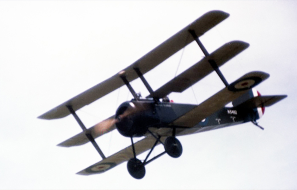 "The Sopwith Triplane known as ""Black Maria"" is flown by Flight Lieutenant ""Fitz"" Fitzgerald before the 1967 air show. Unfortunately, following an accident with Snoopy Squadron's Nieuport 17, the National Aeronautical Collection museum staff were worried about the structural integrity of the Triplane, and would not allow it to fly. PHOTO: Canada Aviation and Space Museum"