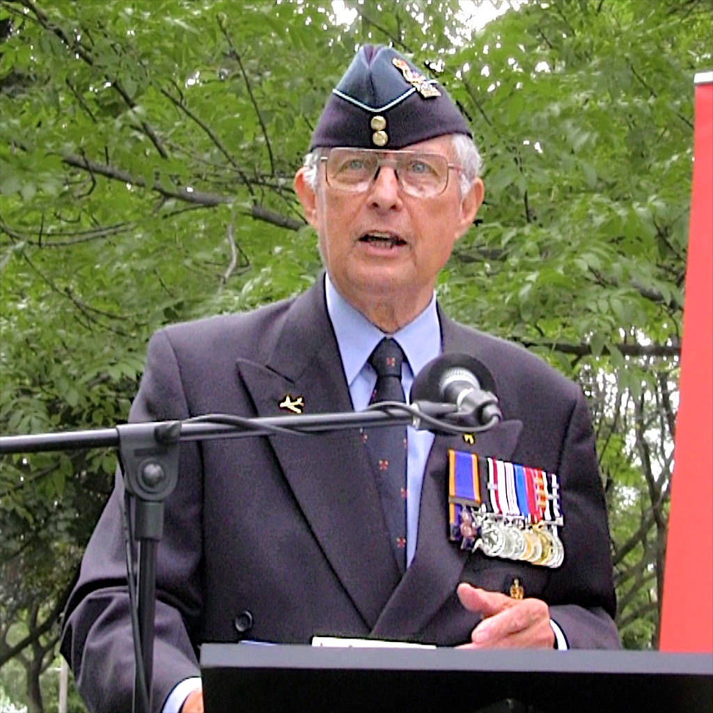 The RCAF's Brigadier-General (retired) Paul Hayes served as master of ceremonies during the ceremony dedicating a plaque at the location of the Trethewey Airfield in Toronto. PHOTO: John Bertram, CAHS