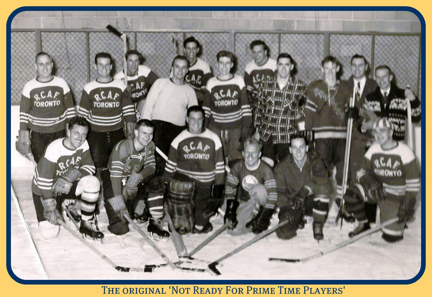 """The Original 'Not Ready For Prime Time Players.'"" Canadian Forces Base Downsview hockey team. PHOTO: 400 & 411 Squadrons, Downsview Life https://get.google.com/albumarchive/106746528070391002095/album/AF1QipN-PYQGzXSGUulMgdbMOg1ritloTh4FqLi_sK87"