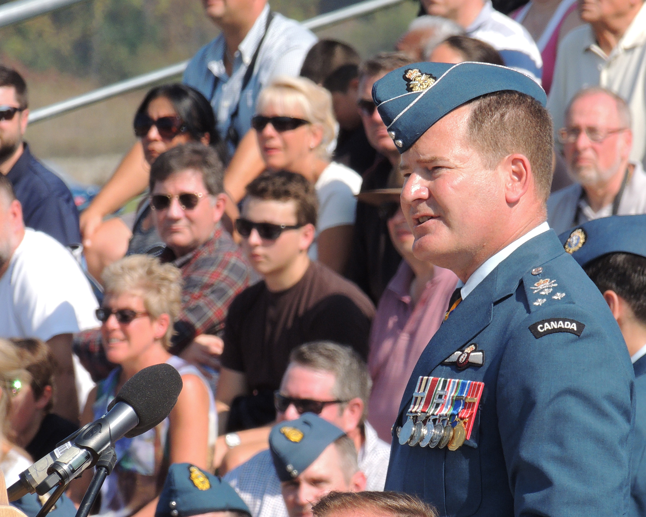 Lieutenant-General Michael Hood, commander of the Royal Canadian Air Force, speaks to parade participants and spectators during Canada's national Battle of Britain parade held September 17, 2017, at the Vintage Wings of Canada hangar in Gatineau, Quebec. PHOTO: Joanna Calder