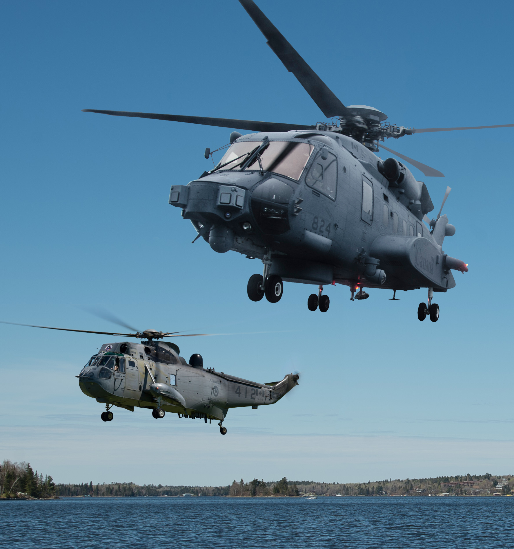 Maritime helicopter aircrew have begun training to convert from the CH-124 Sea King helicopter (background) to the CH-148 Cyclone at 406 Squadron at 12 Wing Shearwater, Nova Scotia. PHOTO MONTAGE: Corporal Alana Morin
