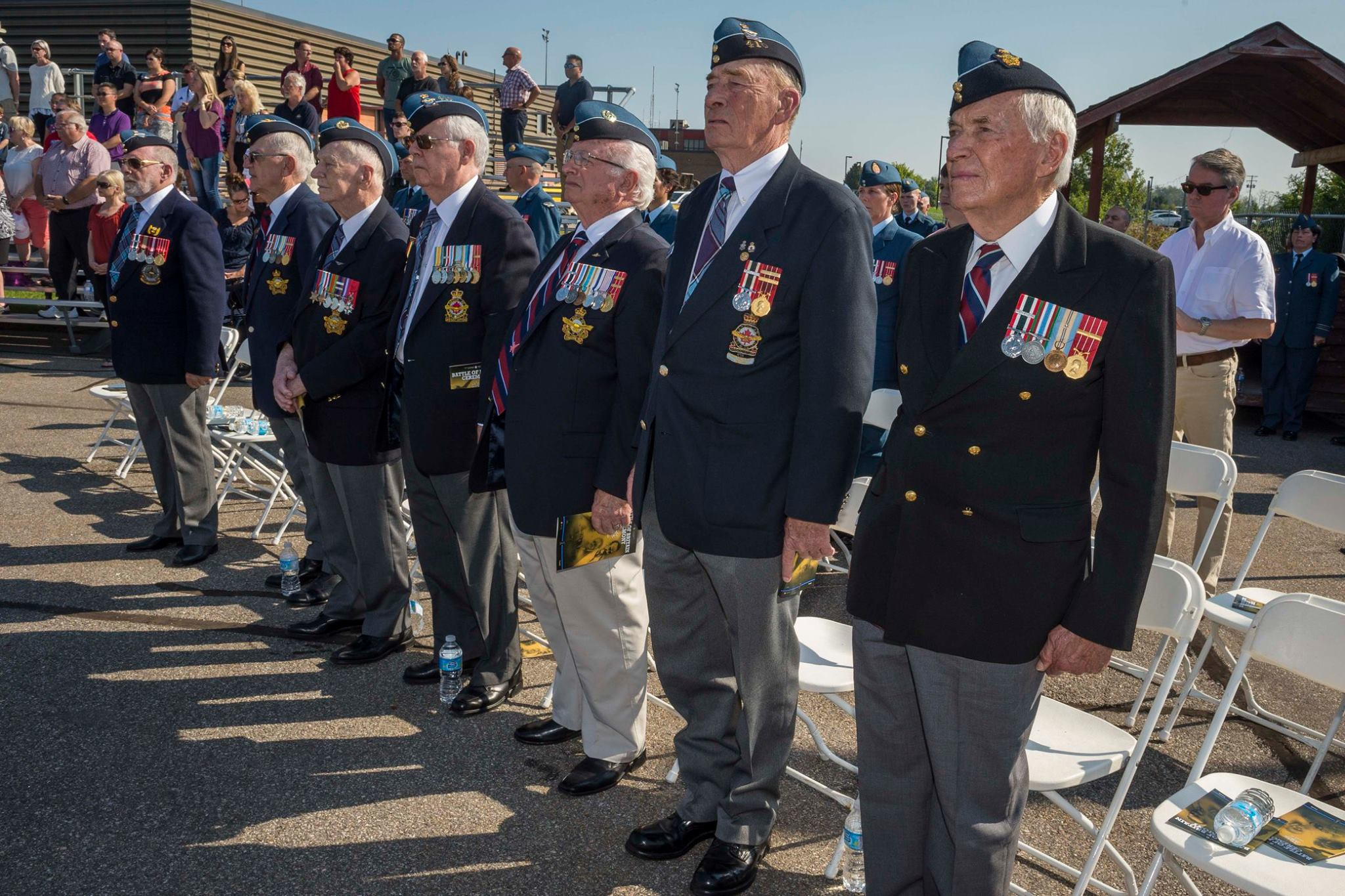 RCAF veterans prepare to march on parade at the national Battle of Britain parade held September 17, 2017, at the Vintage Wings of Canada hangar in Gatineau, Quebec. PHOTO: Corporal Alana Morin