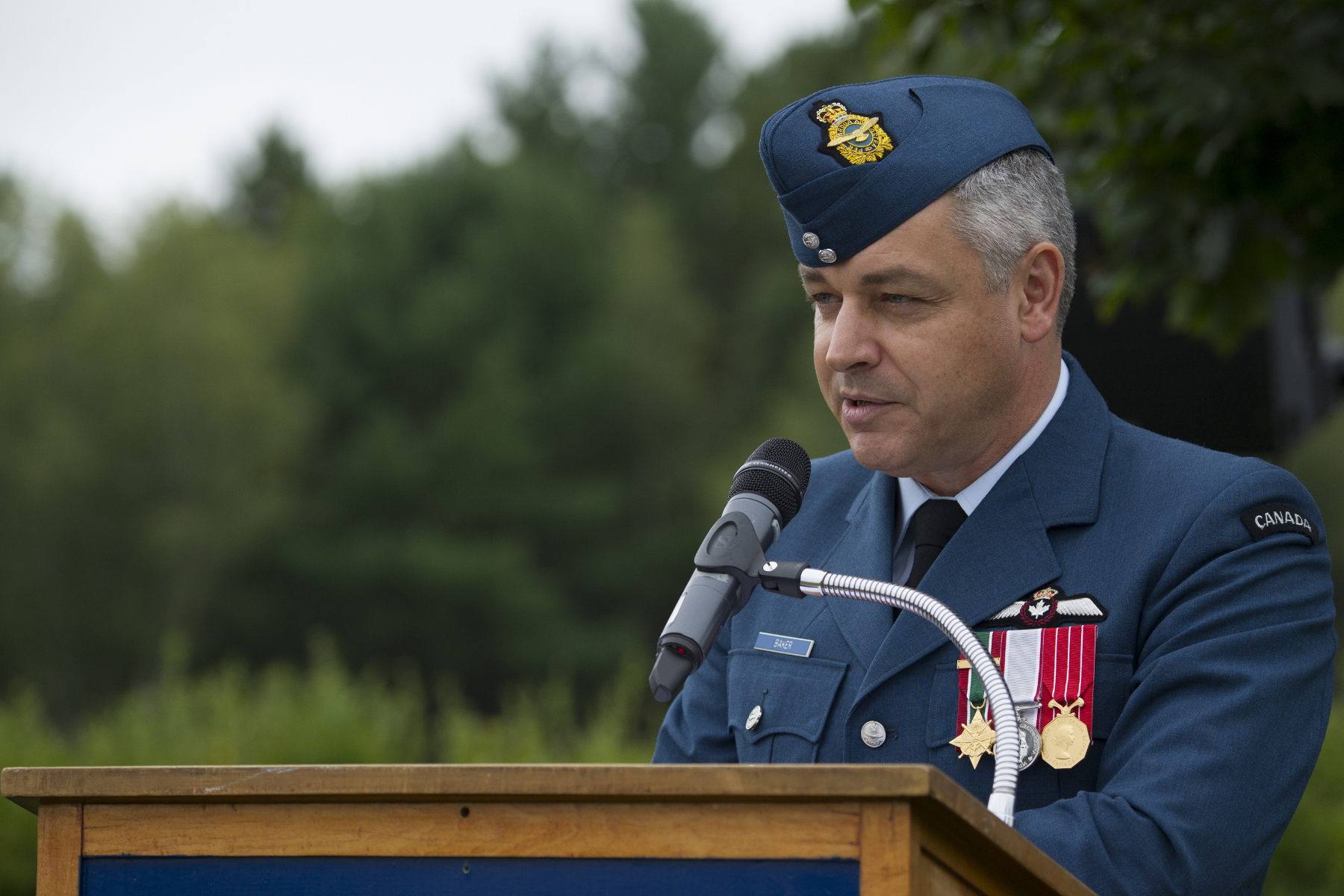 On September 17, 2017, Lieutenant-Colonel Bruno Baker, 14 Wing Greenwood acting wing commander, addresses attendees during the Battle of Britain parade at the 107 Royal Canadian Air Force Association at Greenwood, Nova Scotia. PHOTO: Master Corporal Rory Wilson, GD14-2017-0555-002