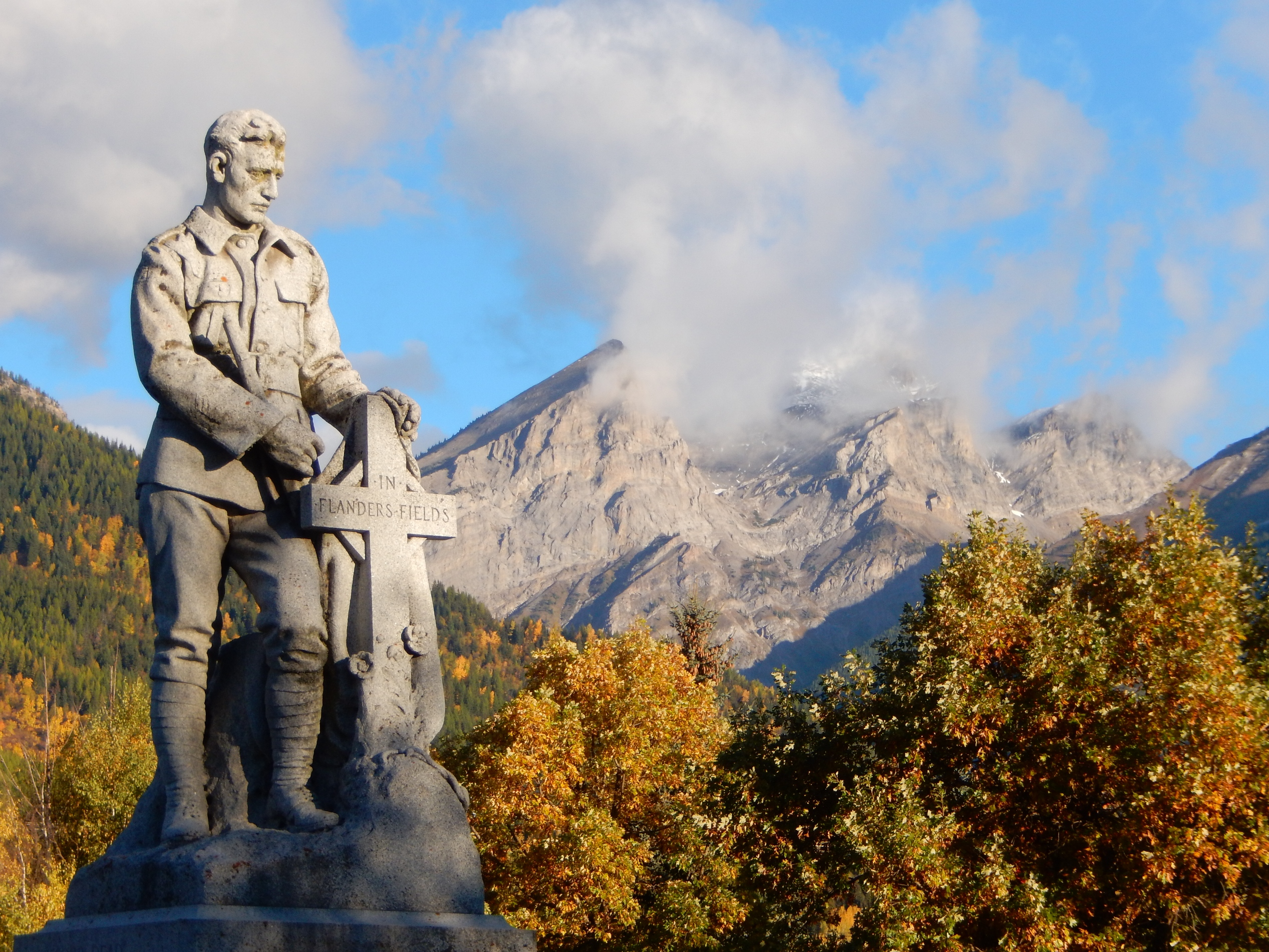 Fernie's war memorial is topped with the stature of a soldier in remembrance of all 114 men from Fernie who lost their lives in three wars. PHOTO: John Chalmers
